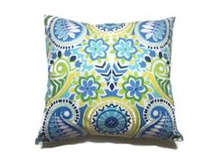 Decorative Pillow Cover Navy Blue Sky Blue by LynnesThisandThat