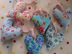Fabric heart garland in shades of blue    #hangingdecorations