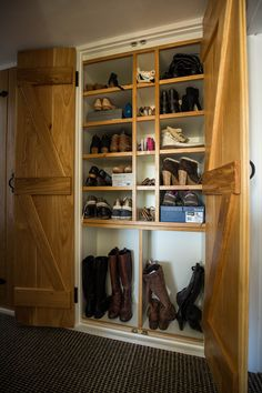 Shoe Storage cabinet with Oak ledged and braced doors