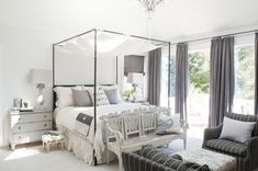 The master bedroom features an array of linen fabrics and a classic French Aubusson rug. Weathered Furniture, Monochromatic Color Scheme, Aubusson Rugs, Beautiful Bedrooms, Traditional House, Sweet Dreams, French Country, Townhouse, Color Schemes