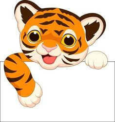 Vector illustration of Cute tiger cartoon with blank sign Poster. Cute Tiger Cubs, Cute Tigers, Tiger Images, Tiger Pictures, Cartoon Tiger, Cute Cartoon, Cartoon Clip, Cartoon Mignon, Baby Animals