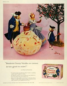 1956 Ad Elsie Borden Colonial Cow Family Cherry Vanilla Ice Cream Dessert SEP5