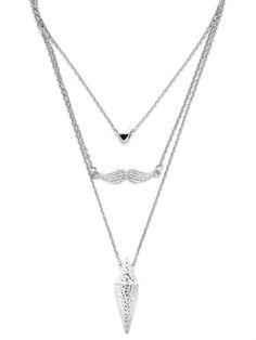 Silver Multilayer Geometric Pendant Necklace