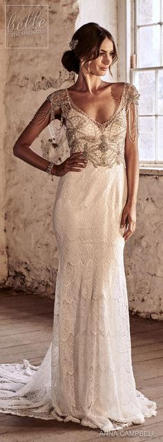 "Anna Campbell 2018 Wedding Dresses — ""Eternal Heart"" Bridal Collection anna campbell 2018 bridal cap sleeves v neck heavily beaded embellished bodice elegant sheath wedding dress short train mv — Anna Campbell 2018 Wedding Dresses Stunning Wedding Dresses, Rustic Wedding Dresses, Perfect Wedding Dress, Bridal Dresses, Beautiful Dresses, Wedding Gowns, Reception Dresses, Wedding Rustic, Trendy Wedding"