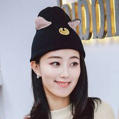 0230a36d64ce7 Luna cat knit hat with ears stylish black beanie hats for girls