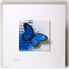handmade card ... clean and simple ... stunning blue butterfly on a collage square ... luv it!!