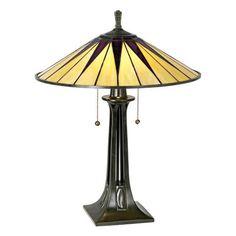 Quoizel Gotham Antique Bronze Tiffany Style Table Lamp -