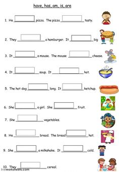 Have Has Am Is Are Food - Interactive worksheet English Grammar For Kids, English Phonics, Learning English For Kids, English Worksheets For Kids, English Lessons For Kids, Kids English, English Language Learning, English Vocabulary Words, Learn English Words