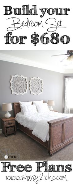 Entire bedroom set, headboard, footboard, side rails and 2 nightstands were built for only $680 in lumber! Free Plans on www.shanty-2-chic.com