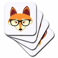 3dRose cst_175372_2 Cute Hipster Red Fox with Glasses Soft Coasters Set of 8 * You can find more details by visiting the image link. (This is an affiliate link) #FurnitureBarCoasters