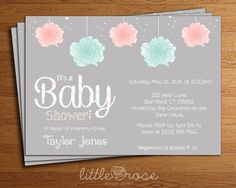 Simple Baby Shower Invitation  Gender Neutral by LittleRoseStudio, $12.00 (but with just pink fluffies)