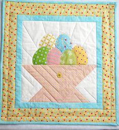 Easter Egg Basket Wallhanging Spring Wall Hanging by twistedsticks,