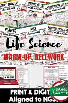Life Science Warm Ups, NGSS Warm Ups, Life Science Bellwork, Bellringers, Ticket Out - elementary education 7th Grade Science, Science Biology, Teaching Biology, Middle School Science, Science Lessons, Science For Kids, Science Activities, Life Science, Science Daily
