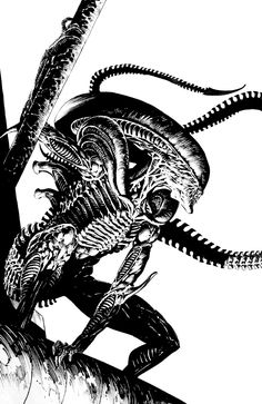 Alien Xenomorph by Bernie Wrightson Alien Vs Predator, Comic Book Artists, Comic Artist, Comic Books Art, Arte Alien, Alien Art, Bd Comics, Horror Comics, Marvel Comics
