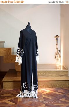 Al Mazyoona Black Embroidered Party Wedding Bisht Abaya Dubai Arabic Jalabiya…