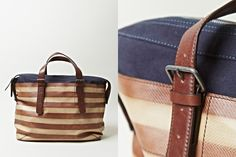 Dries Van Noten striped leather and cotton bag
