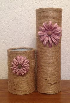 Set of Two Twine Wrapped Recycled Can Vases With by starkissedjade