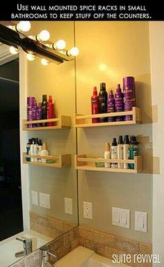 Spice racks for beauty products...Good idea!