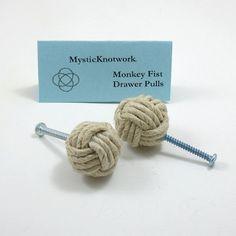 Hemp Drawer Pulls Nautical Monkey Fist Knobs Set of Two