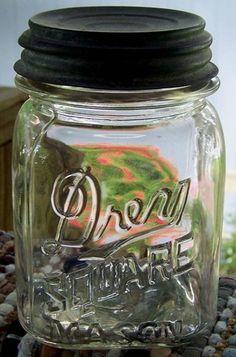 Vintage Drey Square Mason Pint Fruit Canning Jar Zinc Lid Clear Color | eBay