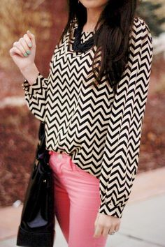 black and white chevron shirt, solid colored jeans, black accessories