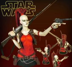 Aurra Sing Mini Bust from Star Wars Clone Wars. It is made by Gentle Giant and is approximately 16 cm (6.3 in) high  http://star-wars.minimodelfilmstuff.co.uk/starwars-collectable/star-wars-clone-wars-aurra-sing-mini-bust-gentle-giant-80056  Aurra Sing, a former Jedi Padawan, who turned rogue bounty hunter specializing in Jedi and political assassinations. She was also know to fraternize with the notorious Cad Bane and his posse of scoundrels. Carefully designed with blaster poi...