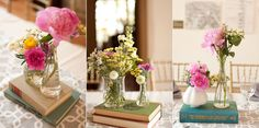 Cute table decorations with antique books