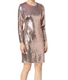 f3b396a5 Calvin Klein NEW Rose Pink Womens Size 10 Sequin Mesh-Trim Sheath Dress  $199 066