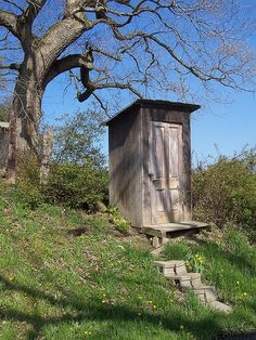 Looks like an outhouse, but the tour guide said it was a telephone booth. It was across from a Noodle store. Most Amish won't have a phone in their home, but they will use one like this or get a non- Amish friend to make the call for them. I guess the wire is buried. Photo from 2005