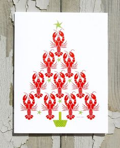 Christmas Card  Lobster Tree Bring holiday by CoastalColorsCapeCod, $3.99
