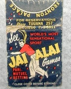 """Tijuana is full of exciting historical embellishments  This week our team is spending time at the """"Tijuana Archivo Historico"""" to educate ourselves on the city's rich past.  Here's something cool we stumbled upon today  A vintage Jai Alai match book  """"World's Most Sensational Sport""""  ________  #webunkyou"""