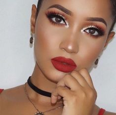 Trendy Makeup Looks With Red Lipstick For You; Stunning Makeup Looks; Red Makup Looks; Red Makeup Looks, Red Lipstick Looks, Red Lips Makeup Look, Red Lipstick Makeup, Makeup For Brown Eyes, Red Lipsticks, Maroon Makeup, Maroon Nails, Skin Makeup