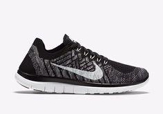 Nike Free 4.0 Flyknit Womens Running Shoes 9.5 Black White Wolf Grey 717076 001 #Nike #RunningCrossTraining