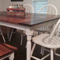 Our new farmhouse table! It's going to be so hard to let this one go! And these mason jars in the rustic box really make the colors pop!