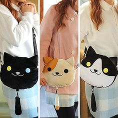 [Neko Atsume] 3 Colors Neko Cat Plush Shoulder Bag SP165085