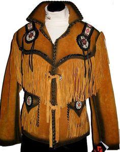 Women Golden Brown Western Leather Jacket Fringe, Bone Beads with Black contrast #Handmade #BasicJacket