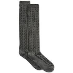 Charter Club Women's Cable Knit Knee Socks, ($6.98) ❤ liked on Polyvore featuring intimates, hosiery, socks, accessories, grey, chunky cable knit socks, gray socks, gray knee high socks, cable knit knee socks and knee hi socks