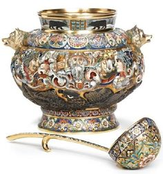 Beautiful enamel and silver antiques. Jeweler Feodor Ruckert