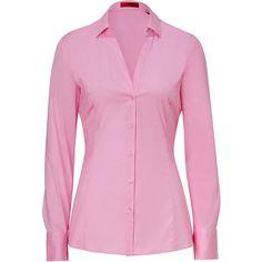 HUGO Light Pastel Pink Stretch Cotton Emna Blouse ($160) ❤ liked on Polyvore