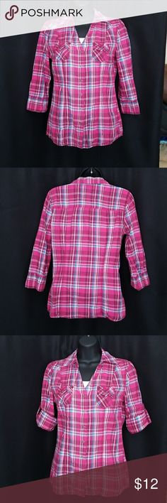 Pink Plaid Button Down Pink, blue, and white plaid 3/4 sleeve button down with two small pockets on the front. Sleeves have tabs inside so they can be rolled and buttoned up. Can be worn open or closed. Arizona Jean Company Tops Button Down Shirts