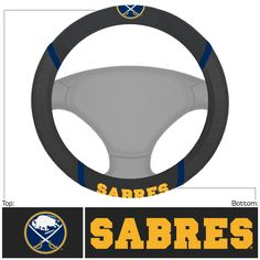 """Buffalo Sabres Steering Wheel Cover 15x15 - Dress up the interior of your vehicle with a steering wheel cover featuring your favorite team. Logo and team name are embroidered. Made of mesh fabric and faux suede. They stay cool in the summer and warm in the winter. Universal fit makes it perfect for most vehicles. FANMATS Series: STEERCOVERTeam Series: NHL - Buffalo SabresProduct Dimensions: 15""""x15""""Shipping Dimensions: 15""""x15""""x1"""". Gifts > Licensed Gifts > Nhl > Buffalo Sabres. Weight: 0.70"""
