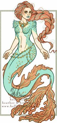 Coral Mermaid Fantasy Art Digital Art Print by helloheath. Love the little bit of green in her hair. Mermaid Artwork, Mermaid Drawings, Mermaid Tattoos, Mermaid Lagoon, Mermaid Fairy, Mermaid Tale, Fantasy Mermaids, Real Mermaids, Mermaids And Mermen