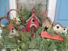 Valentine's Day Windowbox http://ourfairfieldhomeandgarden.com/valentines-day-windowboxes/ Winter Window Boxes, Christmas Window Boxes, Window Box Plants, Country Christmas Decorations, Valentine Decorations, Wooden Planters, Planter Boxes, Outdoor Christmas, Rustic Christmas