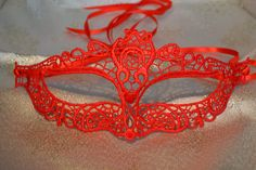 Red Lace Masquerade Mask Red Satin Ribbon Ties -  Weddings, New Year's Party, Valentine's Day Gift, Masquerade Balls, Proms, Christmas Party by SpecialEventsDecorUK on Etsy