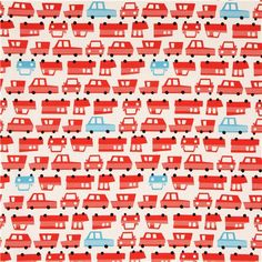 off-white oxford fabric with red and blue cars Kokka Japan