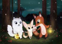 Foxes Christmas card by Jonna Markkula Naali, Kettu ja Aavikkokettu Joulukortissa