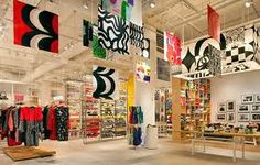 Retail ceilings...colorful banners hang from the ceiling.  Eye catching
