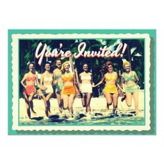 Vintage Girl's Weekend Beach Party Invitation