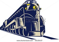 illustration of a steam train locomotive coming towards the viewer done in retro woodcut style. #locomotive #woodcut #illustration