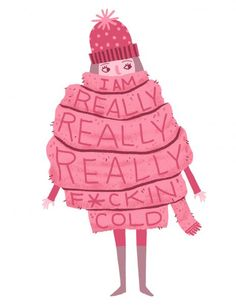 lettering, type, cute, character, design, christmas, winter, pink, human, wooly, cold, illustration